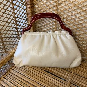 Vintage cream leather bag with plastic handles